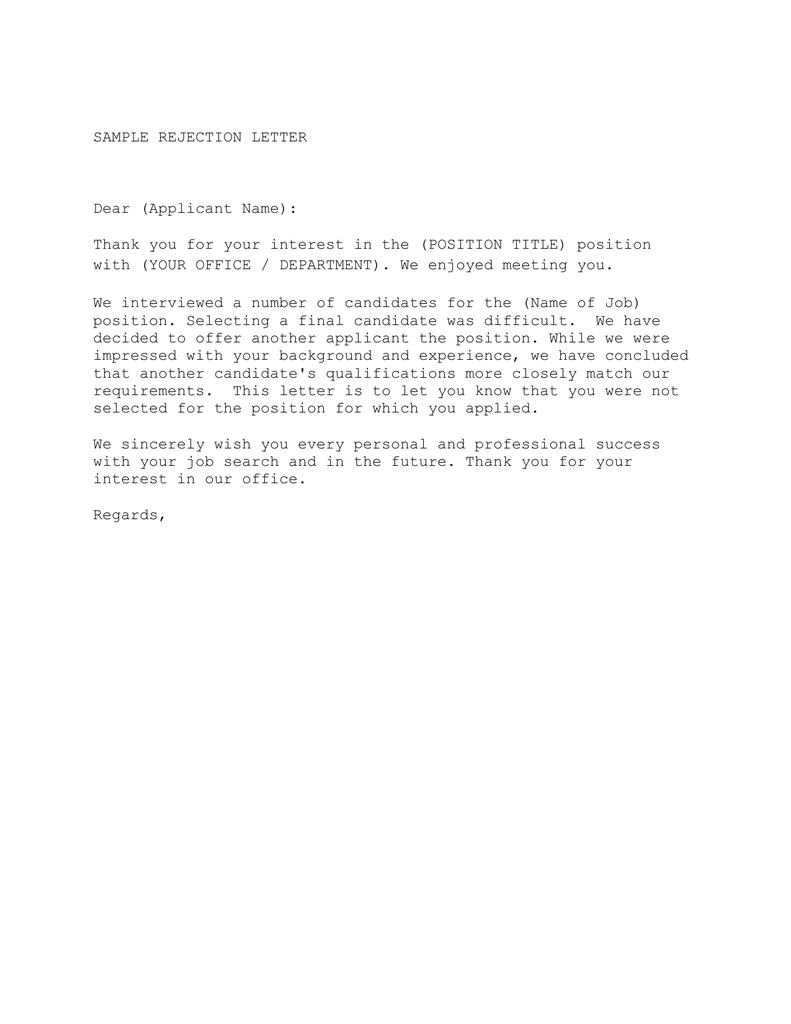 sample rejection letter dear applicant