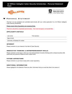 – Personal Statement Sir William Gallagher Cyber Security Scholarship Form