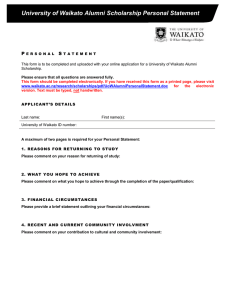 University of Waikato Alumni Scholarship Personal Statement P S