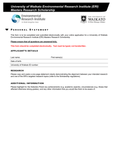 University of Waikato Environmental Research Institute (ERI) Masters Research Scholarship P