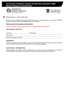 University of Waikato Institute for Business Research (IBR) Masters Research Scholarship P