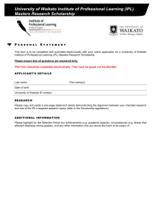 University of Waikato Institute of Professional Learning (IPL) Masters Research Scholarship P