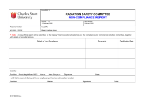 RADIATION SAFETY COMMITTEE  NON-COMPLIANCE REPORT 
