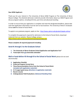 Wayne College MSW Admissions Cover Letter