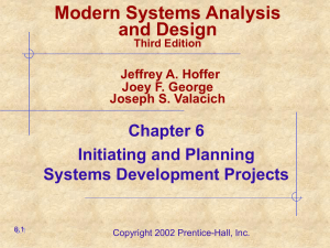 Modern Systems Analysis and Design Chapter 6 Initiating and Planning
