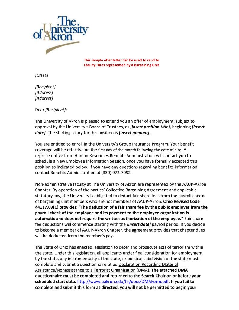 Offer Letter For Faculty Bargaining Member