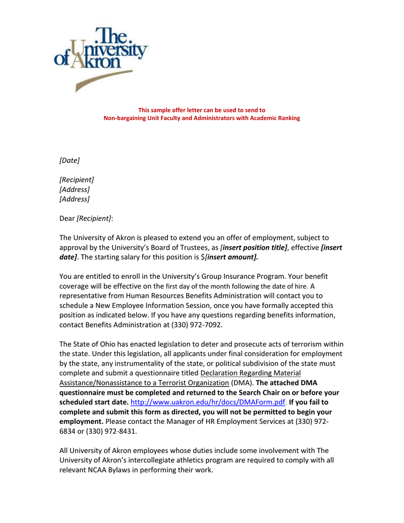 New Hire Offer Letter from s2.studylib.net