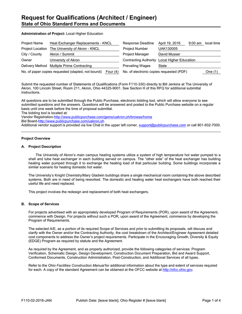 Request for Qualifications (Architect / Engineer)