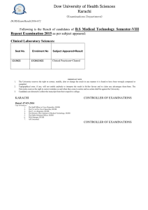 {Examinations Department} Result B.S Medical Technology Semester-VIII Repeat Examination 2015.