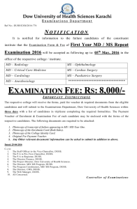 {Examinations Department} (NOTIFICATION) Examination Form & Fee of First Year MD / MS Repeat Examination 2016
