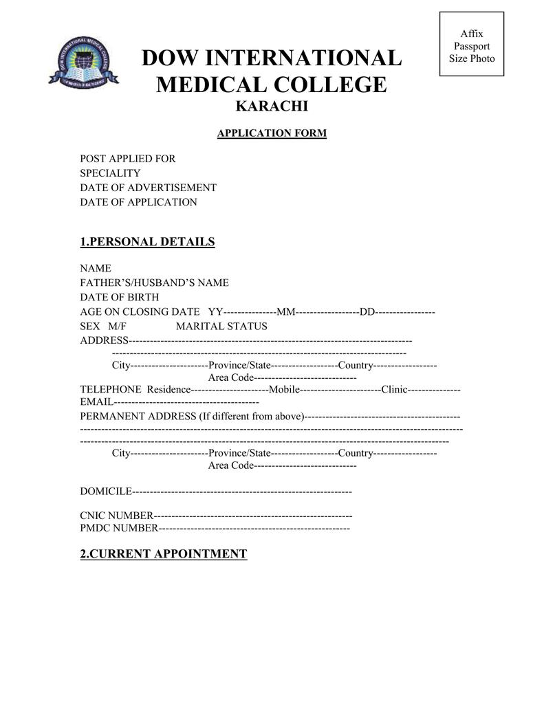 DIMC Job Application Form 2012 Admission Form Dow Medical College Karachi on hamdard university karachi, sindh medical college karachi, aga khan university karachi, fatima jinnah medical college karachi,