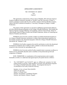College of Health Professions/University-approved Affiliation Agreement