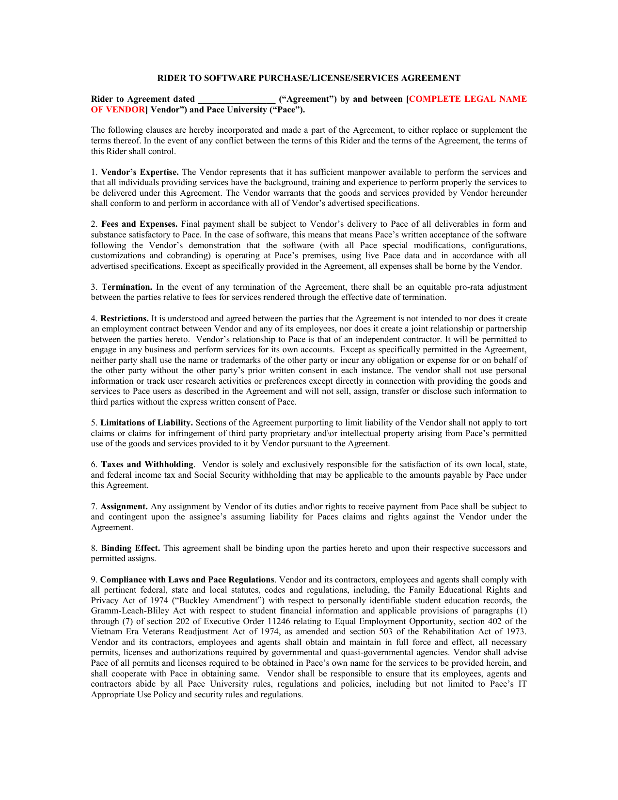 Rider To Software Purchaselicenseservices Agreement