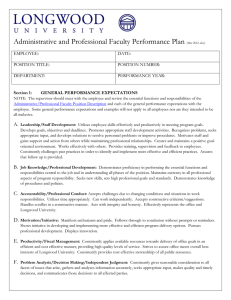 A/P Faculty Performance plan