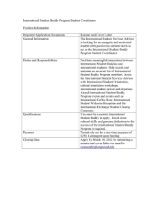 International Student Buddy Program Student Coordinator  Position Information Required Application Documents