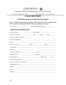 Child Case History Form for Tutoring