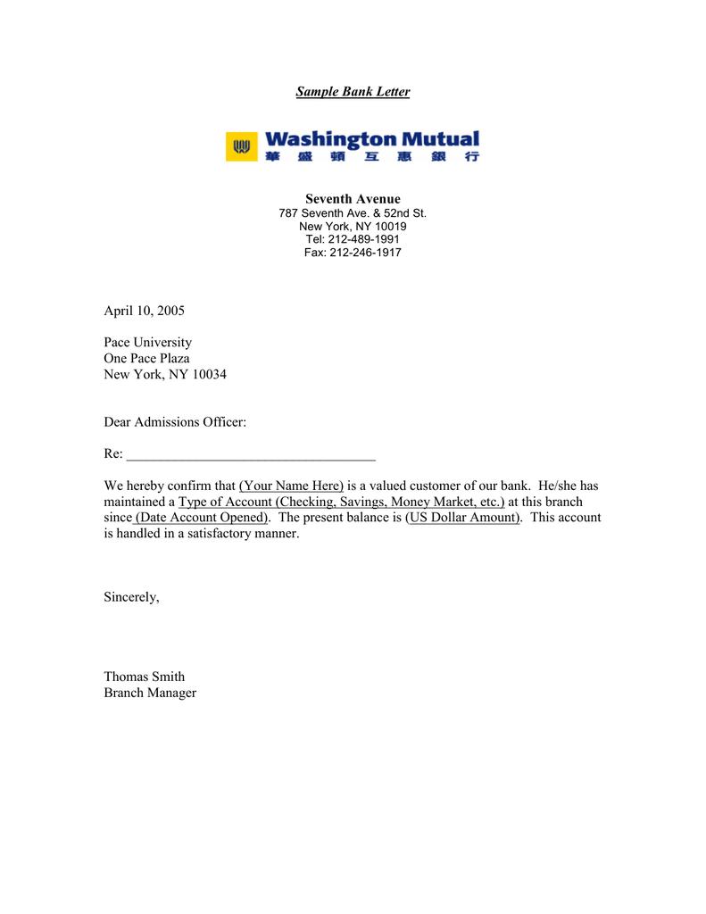 Sample Bank Letter Seventh Avenue April 10  2005