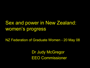 Sex and power in New Zealand: women s progress