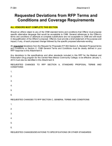 Requested Deviations from RFP Terms and Conditions and Coverage Requirements P-364
