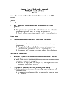 Summary List of Mathematics Standards Met by SC MAPS Activities