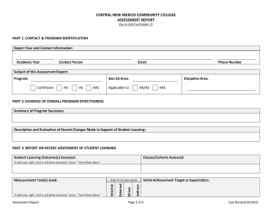 Annual Assessment Report Form