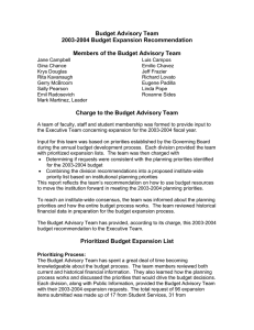 Budget Advisory Team 2003-2004 Budget Expansion Recommendation