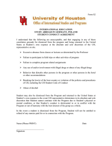 Student Conduct Agreement Form