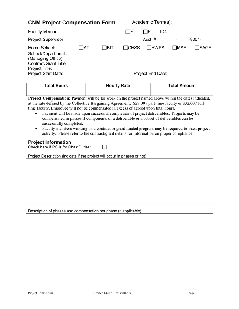 Project Compensation Agreement Form
