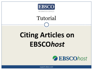 Citing Articles on host Tutorial support.ebsco.com