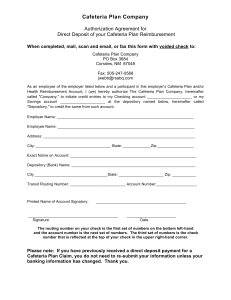 Cafeteria Plan Company  Authorization Agreement for