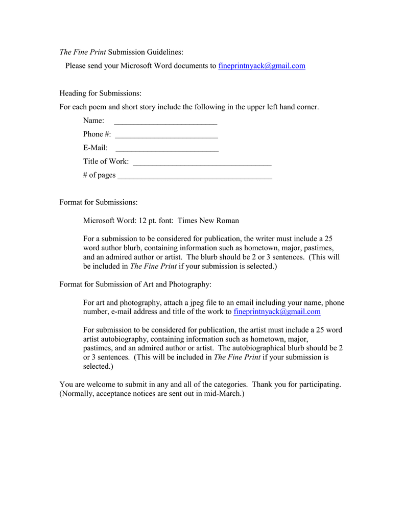 Fine Print Submission Form