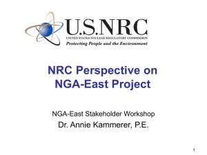 NRC Perspective on NGA-East Project