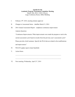 Agenda for the Academic Program Assessment Committee Meeting
