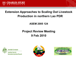 Extension Approaches to Scaling Out Livestock Production in northern Lao PDR