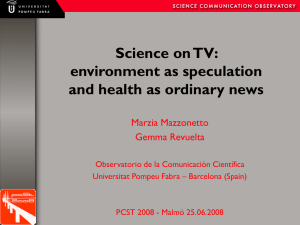 Science on TV: environment as speculation and health as ordinary news