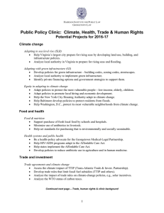Public Policy Clinic:  Climate, Health, Trade & Human Rights