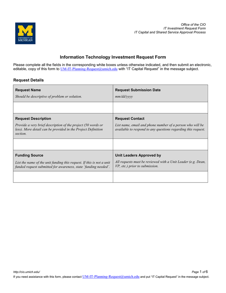 Information Technology Investment Request Form