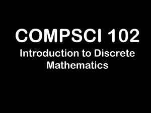 COMPSCI 102 Introduction to Discrete Mathematics