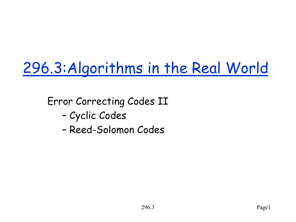Reed-Solomon Codes (  ppt )