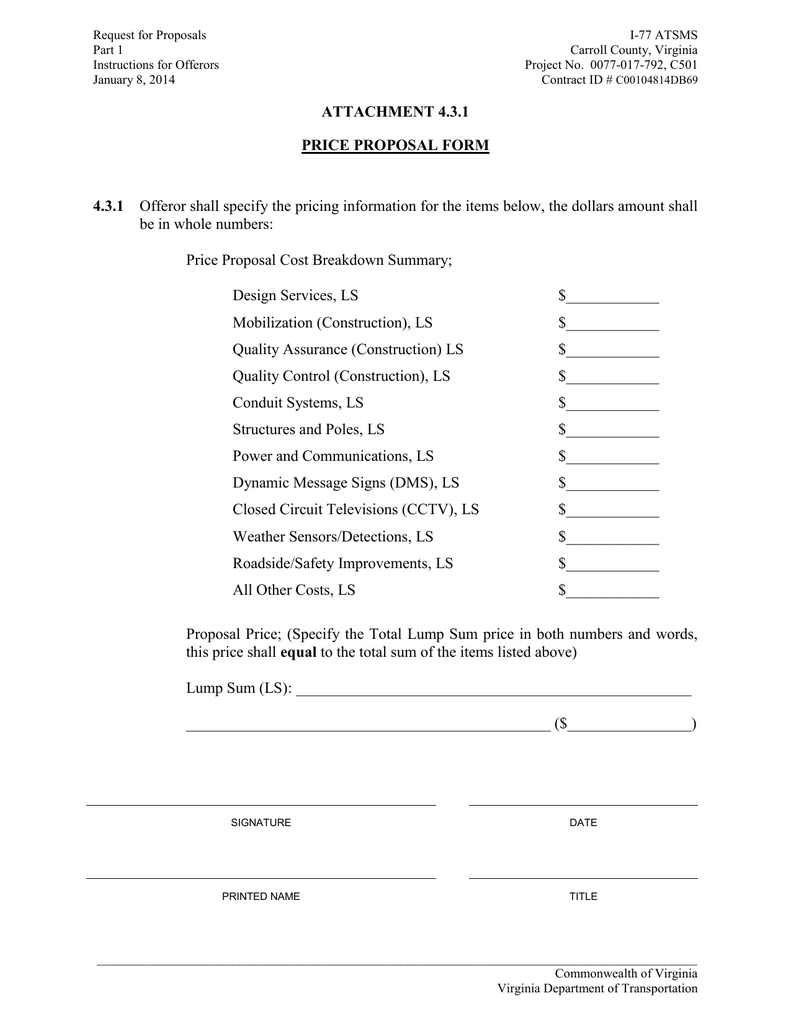 RFP Attachment 4 3 1 Price Proposal Form