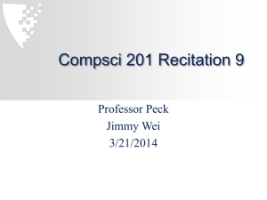 Compsci 201 Recitation 9 Professor Peck Jimmy Wei 3/21/2014
