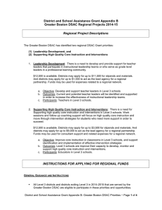 District and School Assistance Grant Appendix B Regional Project Descriptions