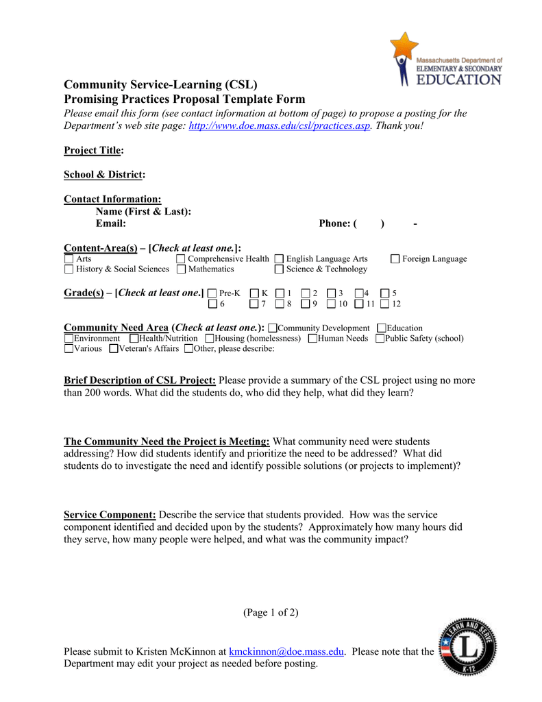 community service learning csl promising practices proposal template form