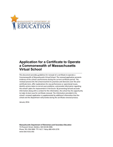Application for a Certificate to Operate a Commonwealth of Massachusetts Virtual School