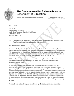 The Commonwealth of Massachusetts Department of Education