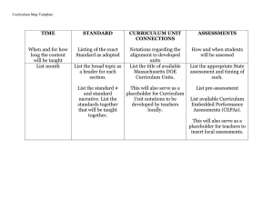 TIME STANDARD CURRICULUM UNIT ASSESSMENTS