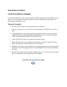 Safe Routes to School Local Press Release Template