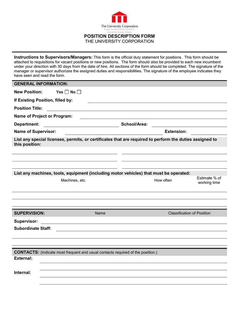 To managers Supervisors University Instructions Corporation Position Description The Form