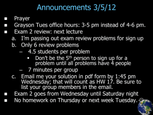 Announcements 3/5/12