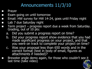 Announcements 11/3/10